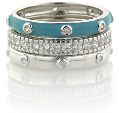 Diamonelle Sterling Silver Set of Stackable Bands with Enamel