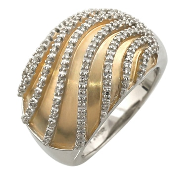 Sterling Silver Two Tone Diamond Ring