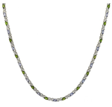 "Sterling Silver Tanzanite & Gemstone 10.00ctw 18"" Necklace"