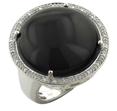 Sterling Silver Gemstone & Diamond Ring