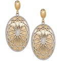 Oval Drop Sterling Silver & 18K Gold Plate Earrings
