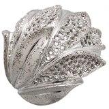 Sterling Silver Sparkle Leaf Design Ring
