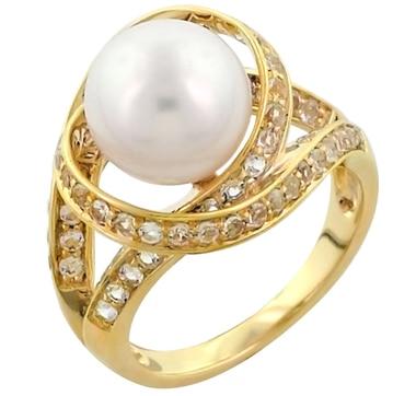 Sterling Silver Pearl & White Topaz Orbit Ring