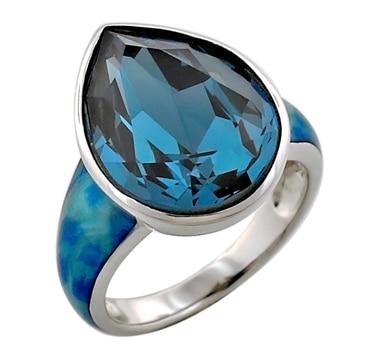Bague Sigal Style en argent sterling, ornée d'un cristal taille poire