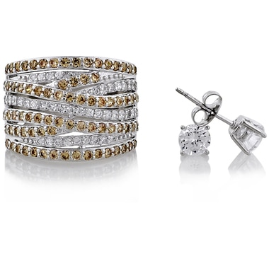Diamonelle Multi Row Sterling Silver Crossover Ring & Earrings Set