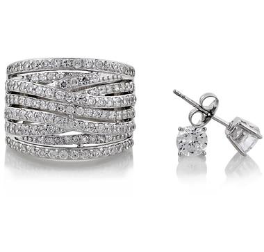 Bague en argent sterling à anneaux multiples et boutons d'oreilles ornés de similidiamants Diamonelle