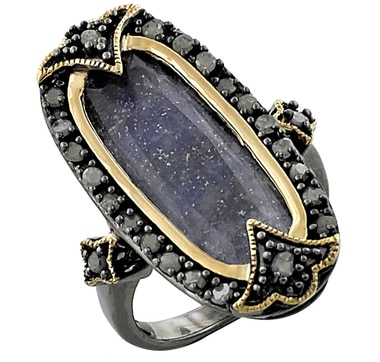 Tracey Bregman Gold Plate Gemstone & Diamond Sterling Silver Ring