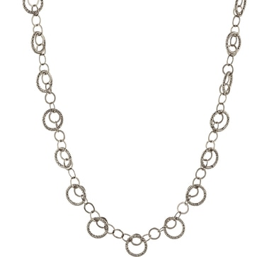 "Sterling Silver Multi Circle Link Necklace with 2"" Extender"