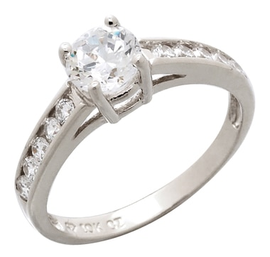 Bague à solitaire en or 10 ct ornée de similidiamants ronds Diamonelle