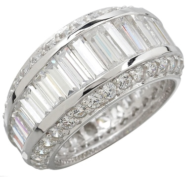 Sterling Diamonelle Graduated Baguette and Round Eternity Band