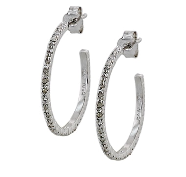 Sigal Style Sterling Silver Diamond Hoop Earrings