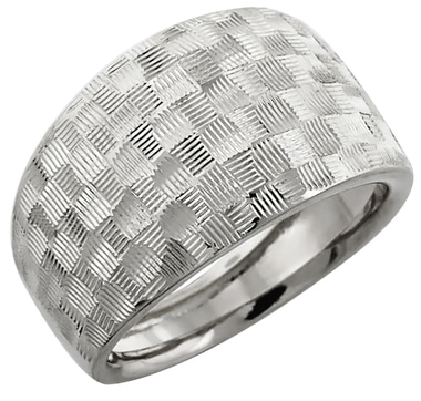 14K Gold Diamond Cut Quilted Design Ring