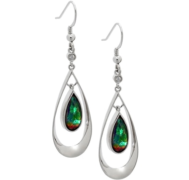 Ammolite & White Sapphire Pear Shaped Double Dangle Sterling Silver Earrings