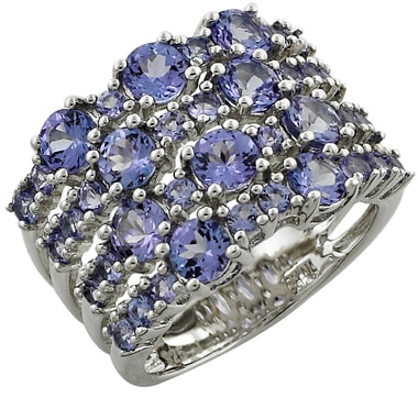 Tanzanite Sterling Silver Multi Row Band