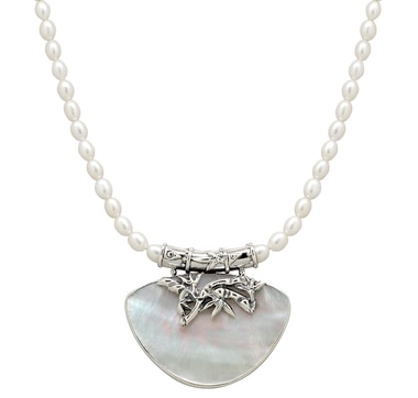 Sterling Silver Shell & Pearl Necklace