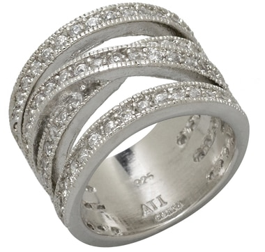 Sterling Silver & Rhodium Plate Multi Row Cross Over Band